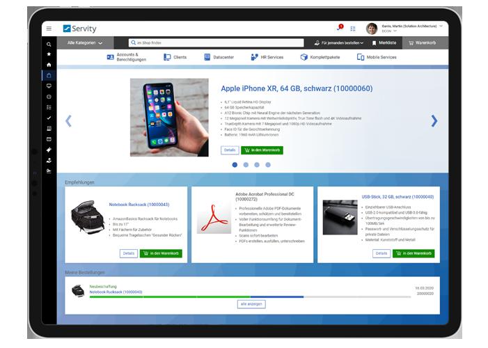 User Self Service in Servity: Der Shop