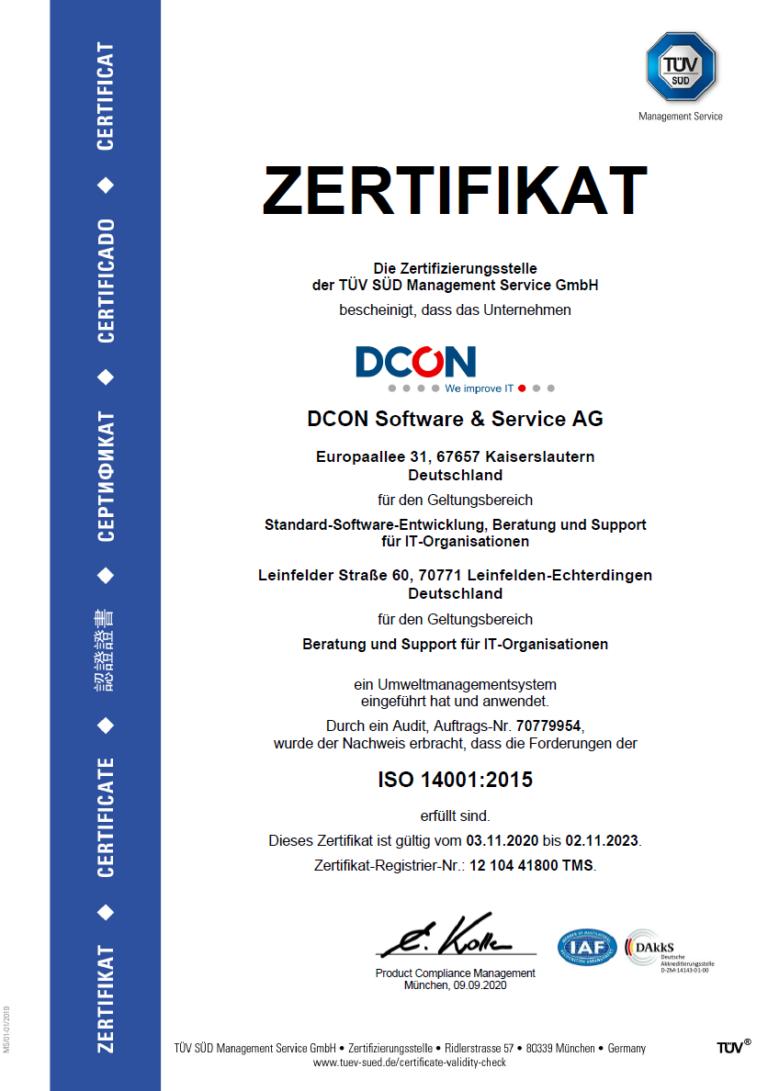 DCON ist ISO 140001 zertifiziert