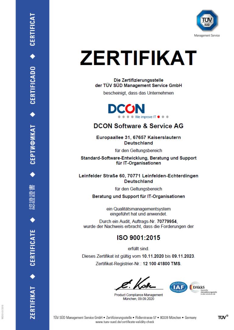 DCON ist ISO 9001 zertifiziert
