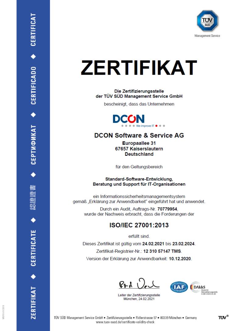 DCON ist ISO 270001 zertifiziert | Informationssicherheit